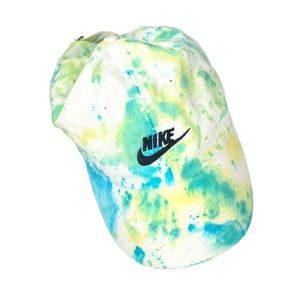 Nike White Blue Green Tie Dye Dad Hat Upcycled
